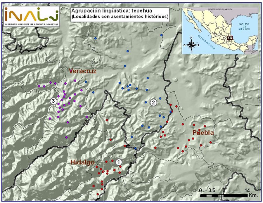 Mapa de la lengua tepehua